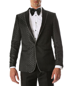 Men's Pronto Black Star Modern Fit Notch Lapel Tuxedo Blazer - Giorgio's Menswear
