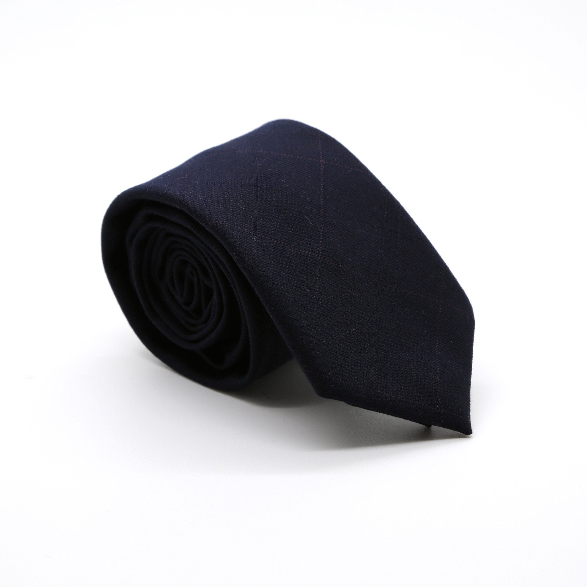 Slim Navy Blue Shiny Plaid Neckties & Handkerchief - Giorgio's Menswear