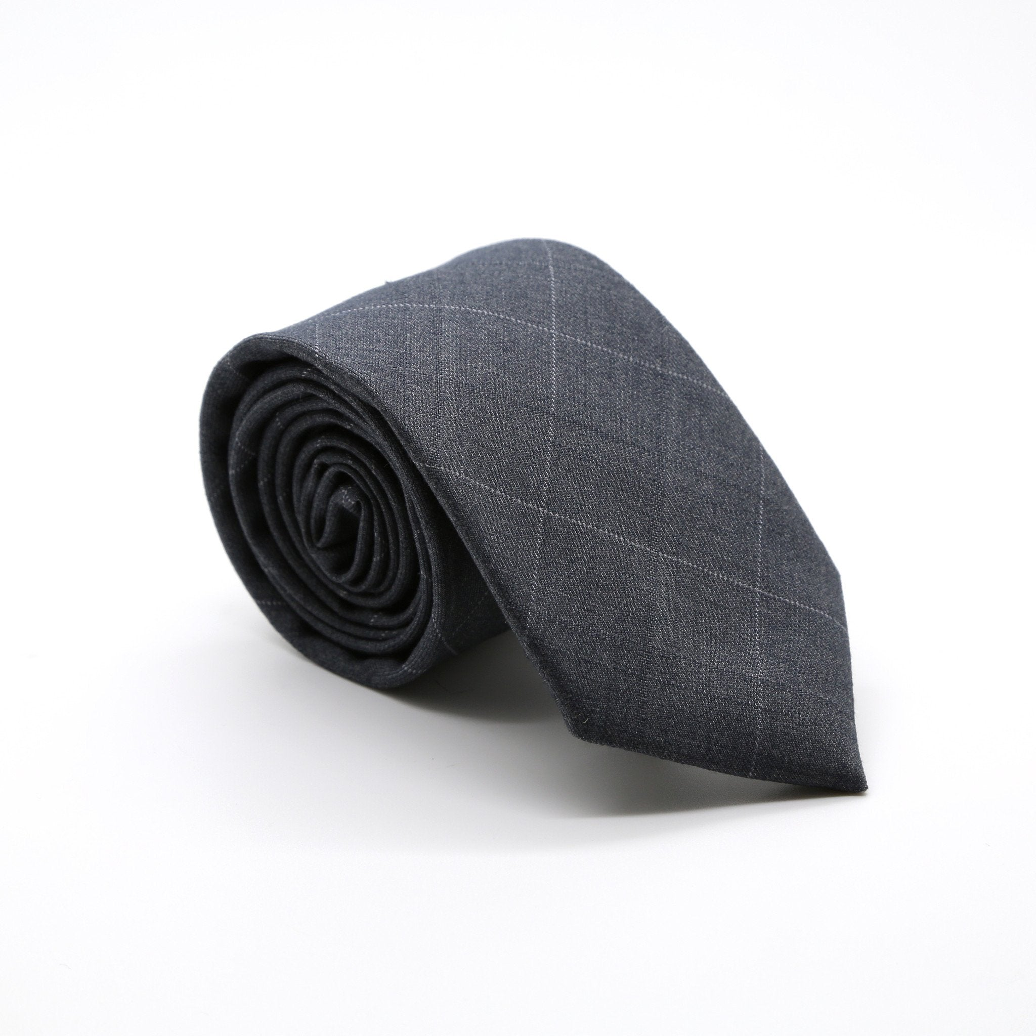 Slim Grey Plaid Neckties & Handkerchief - Giorgio's Menswear