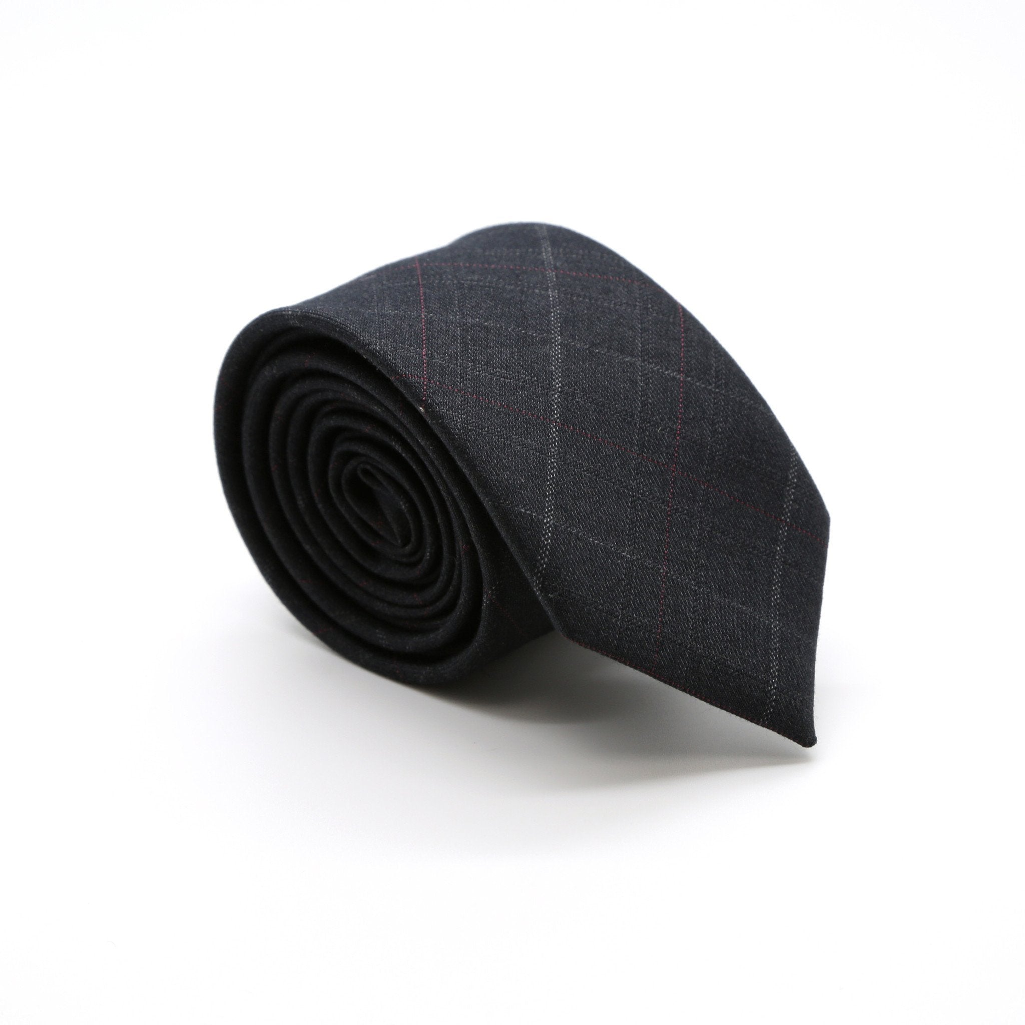 Slim Charcoal With Hint Of Red & Beige Plaid Neckties & Handkerchief - Giorgio's Menswear