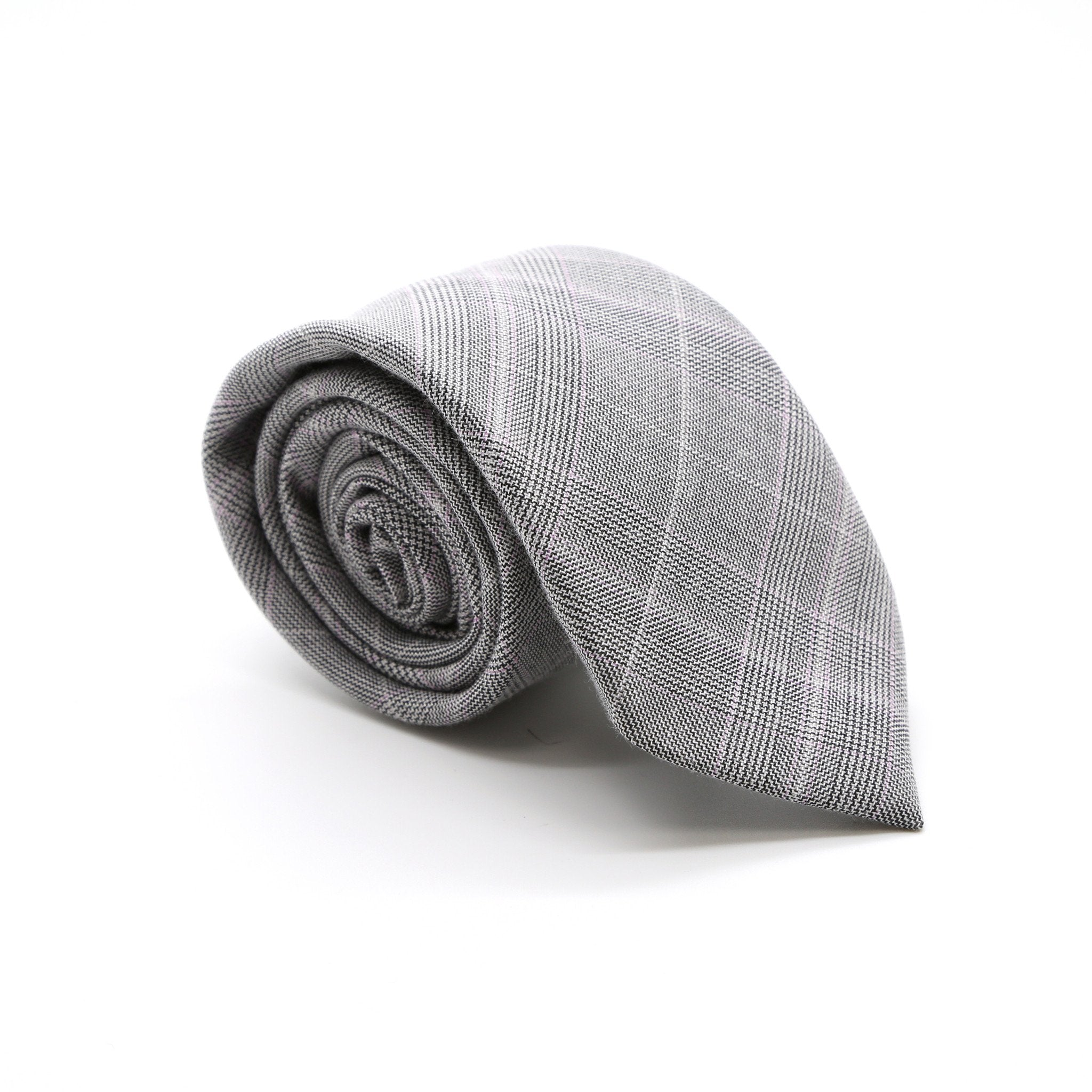 Slim Grey and Lavender Plaid Neckties & Handkerchief - Giorgio's Menswear