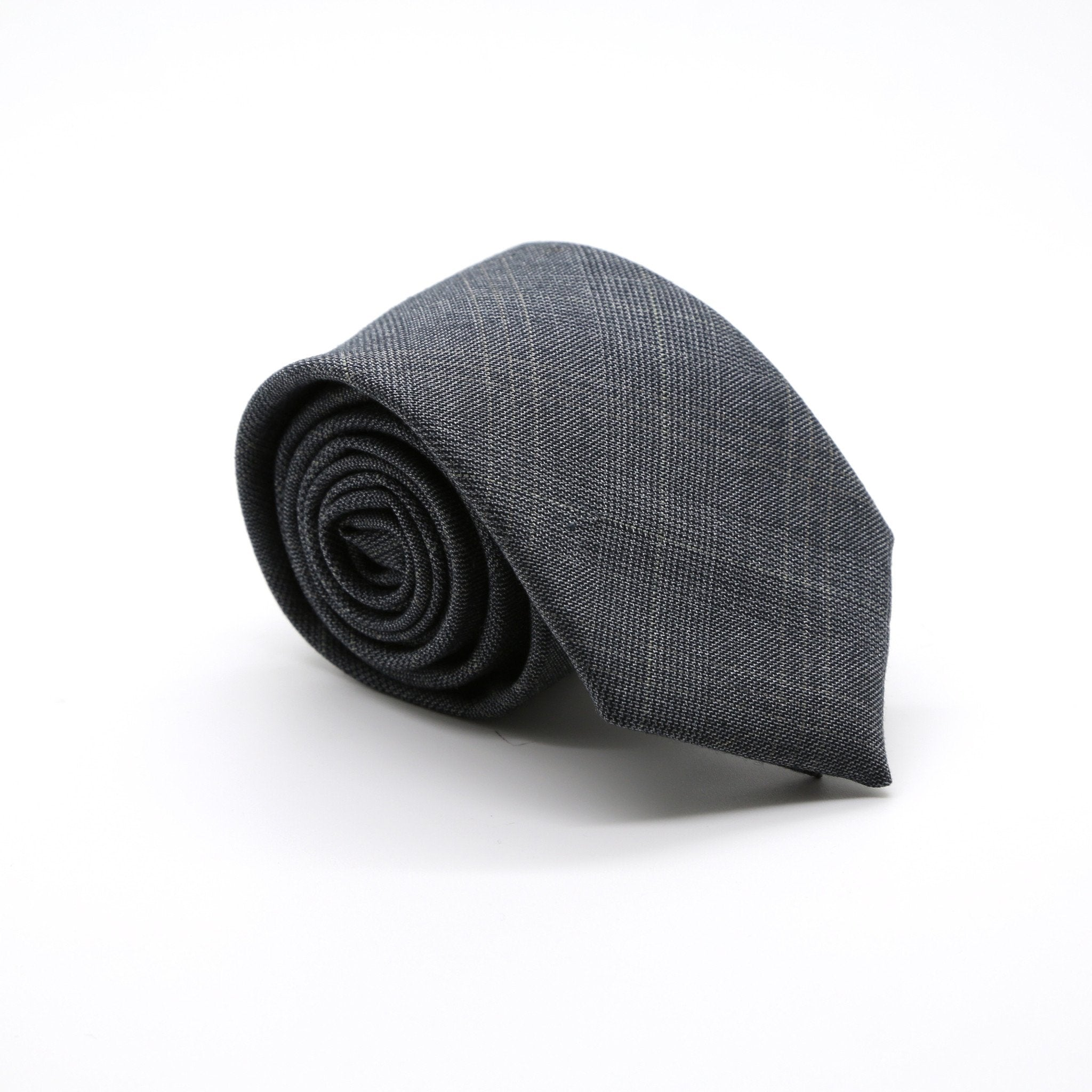 Slim Charcoal and Hint Of Tan Plaid Neckties & Handkerchief - Giorgio's Menswear