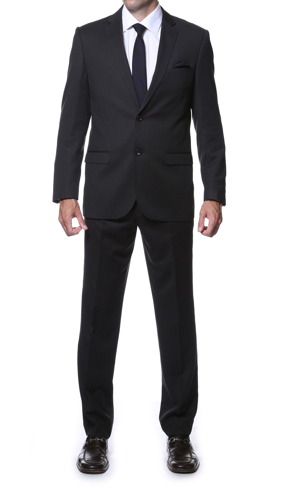 Parker Slim Fit Black Striped Tone on Tone Wool Suit - Giorgio's Menswear