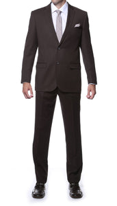 Parker Slim Fit Brown Striped Tone on Tone Wool Suit - Giorgio's Menswear