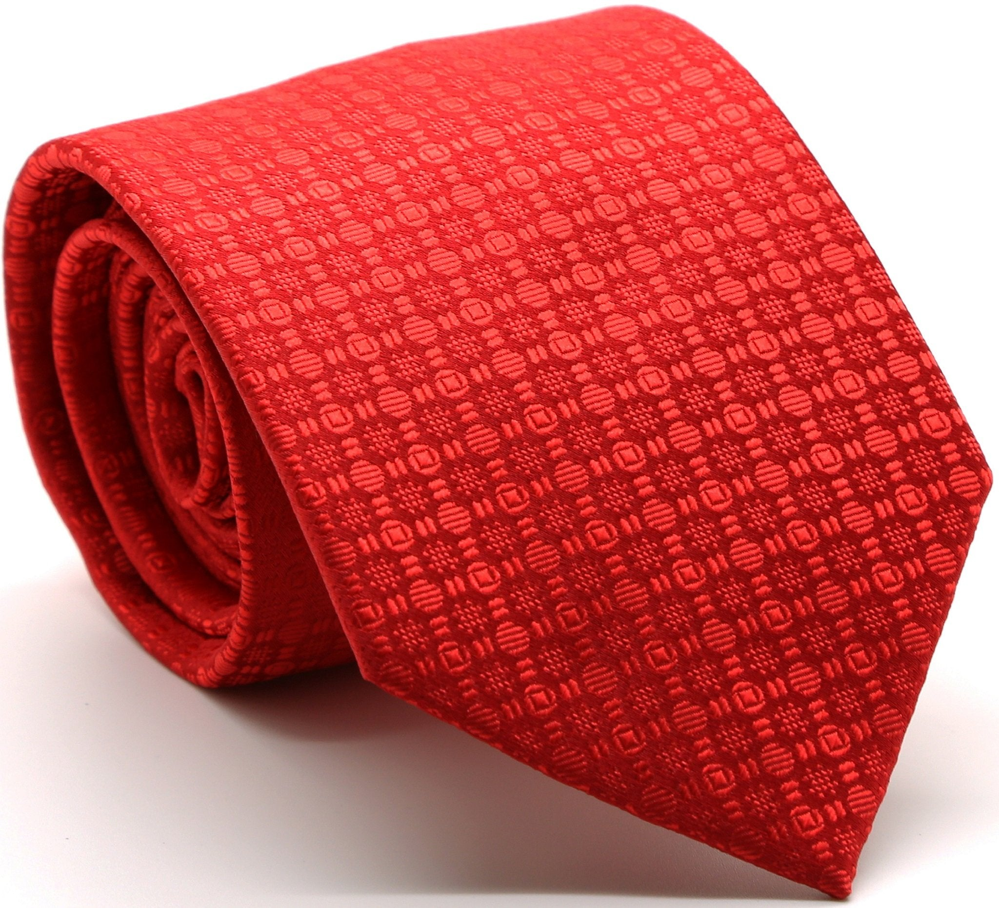 Mens Dads Classic Red Geometric Pattern Business Casual Necktie & Hanky Set R-1 - Giorgio's Menswear