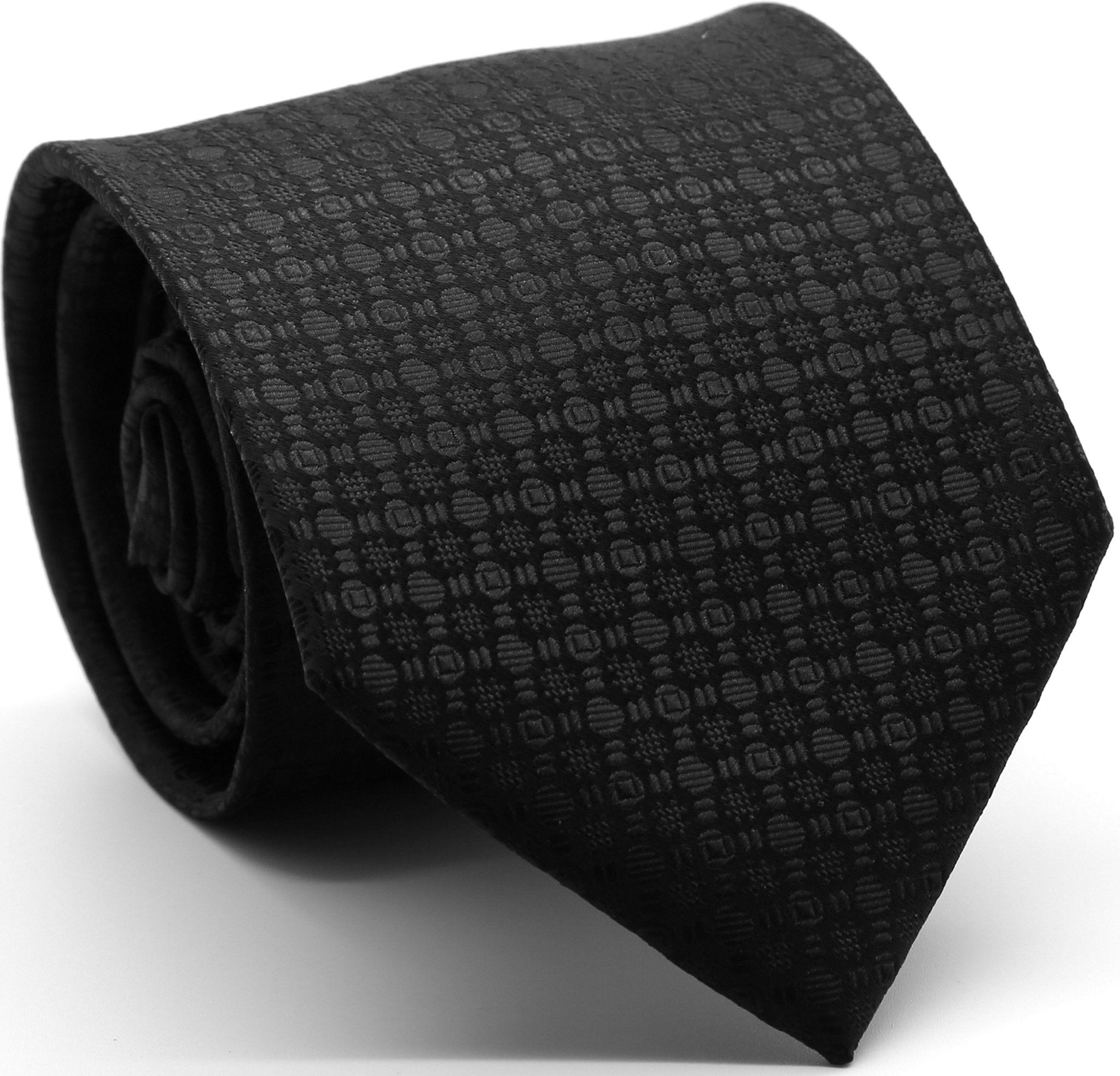 Mens Dads Classic Black Geometric Pattern Business Casual Necktie & Hanky Set R-2 - Giorgio's Menswear