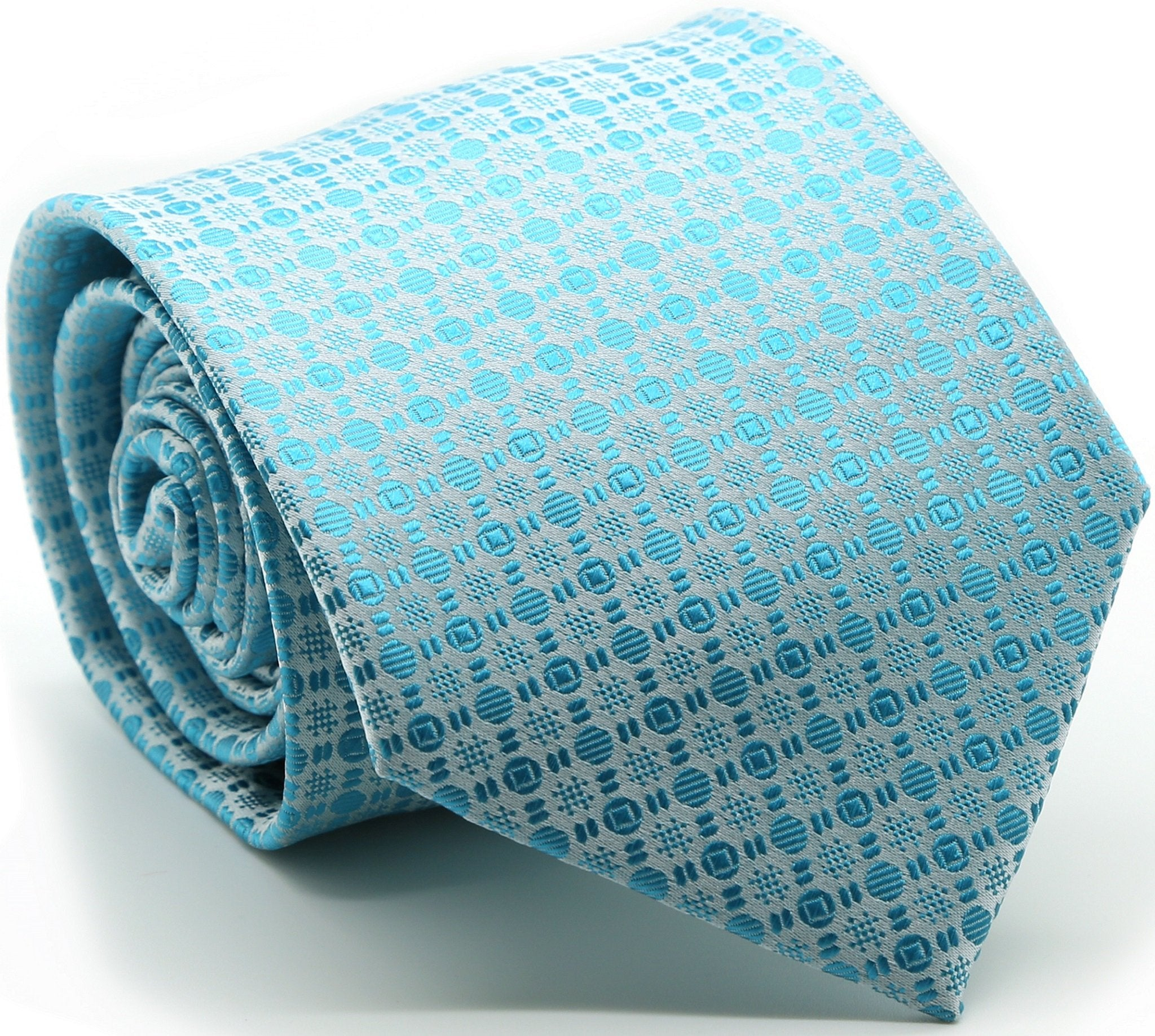 Mens Dads Classic Turquoise Geometric Pattern Business Casual Necktie & Hanky Set R-3 - Giorgio's Menswear