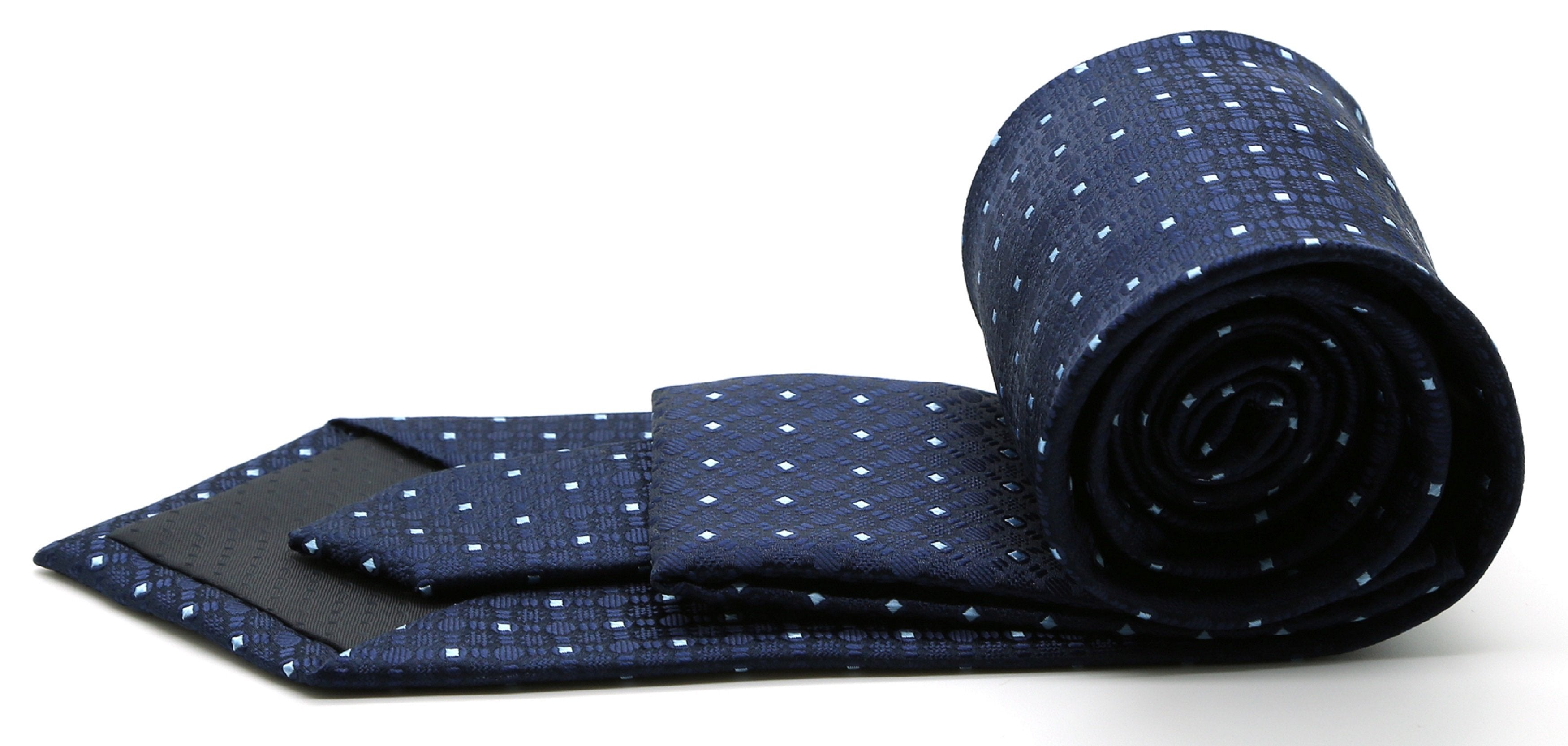 Mens Dads Classic Navy Geometric Pattern Business Casual Necktie & Hanky Set R-4 - Giorgio's Menswear