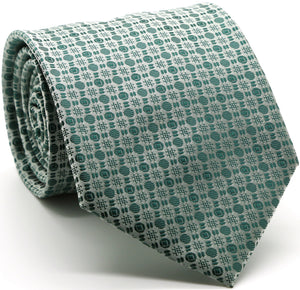 Mens Dads Classic Green Geometric Pattern Business Casual Necktie & Hanky Set R-8 - Giorgio's Menswear
