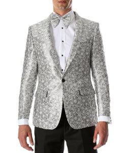 Men's Rene Abstract Silver Modern Fit Shawl Collar Tuxedo Blazer - Young Man's Prom Wear - Giorgio's Menswear