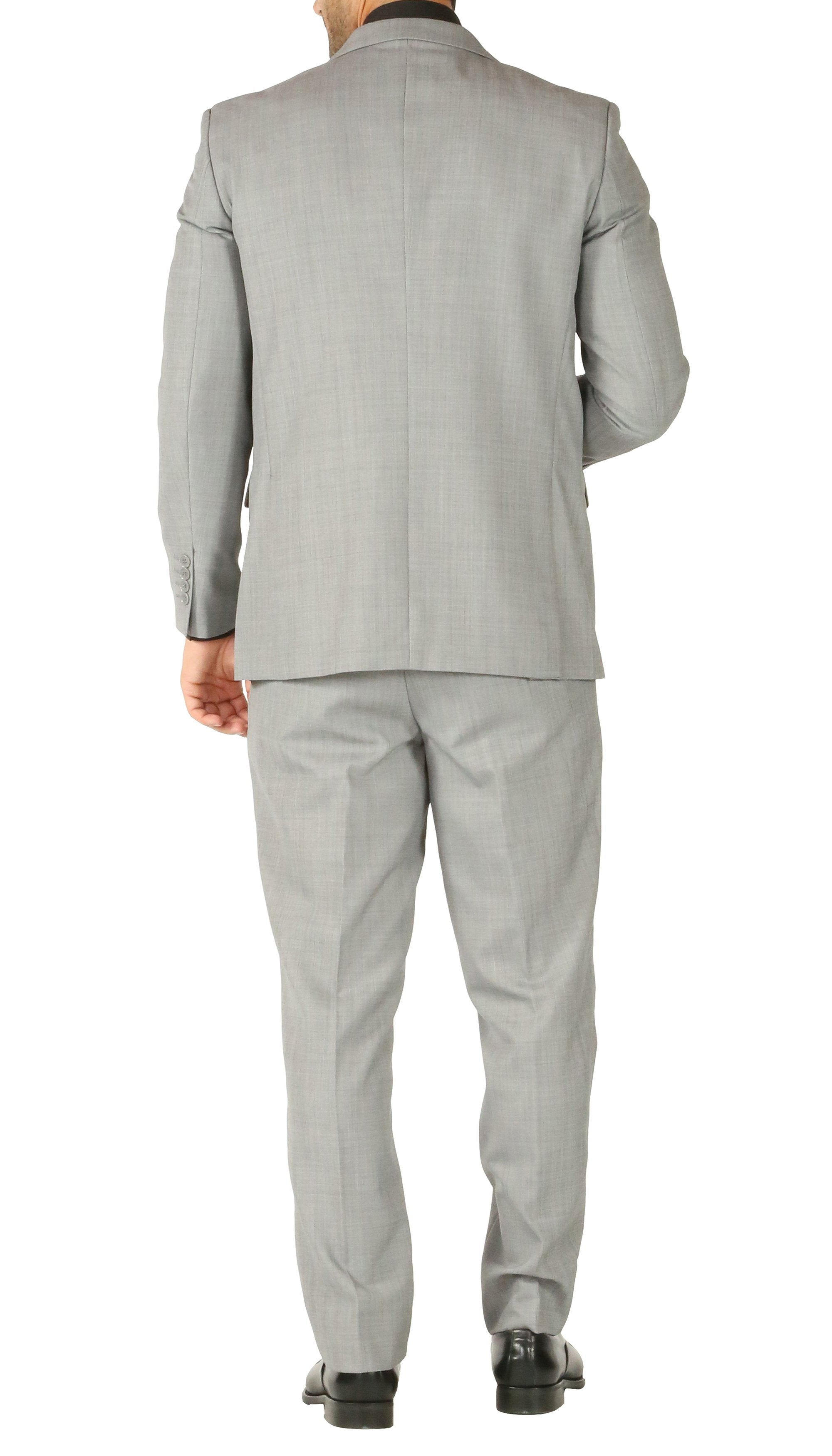 Rod Premium Light Grey Wool 2pc Stain Resistant Traveler Suit - w 2 Pairs of Pants - Giorgio's Menswear