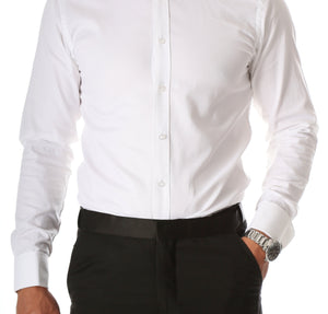 Ferrecci Men's Rome White Slim Fit Pique Wing Tip Collar Tuxedo Shirt with Bib - Giorgio's Menswear