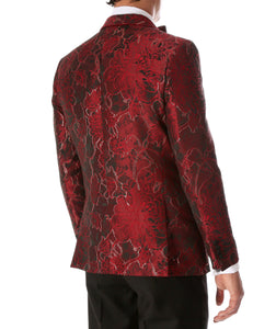 Men's Romi Red Floral Modern Fit Shawl Collar Tuxedo Blazer - Giorgio's Menswear