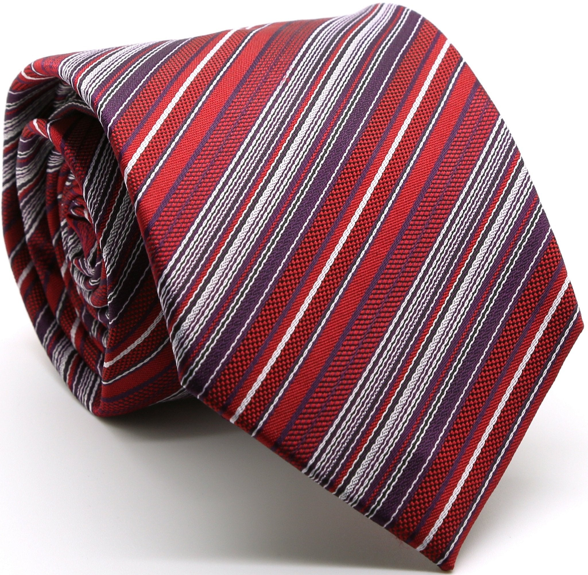 Mens Dads Classic Red Striped Pattern Business Casual Necktie & Hanky Set S-11 - Giorgio's Menswear