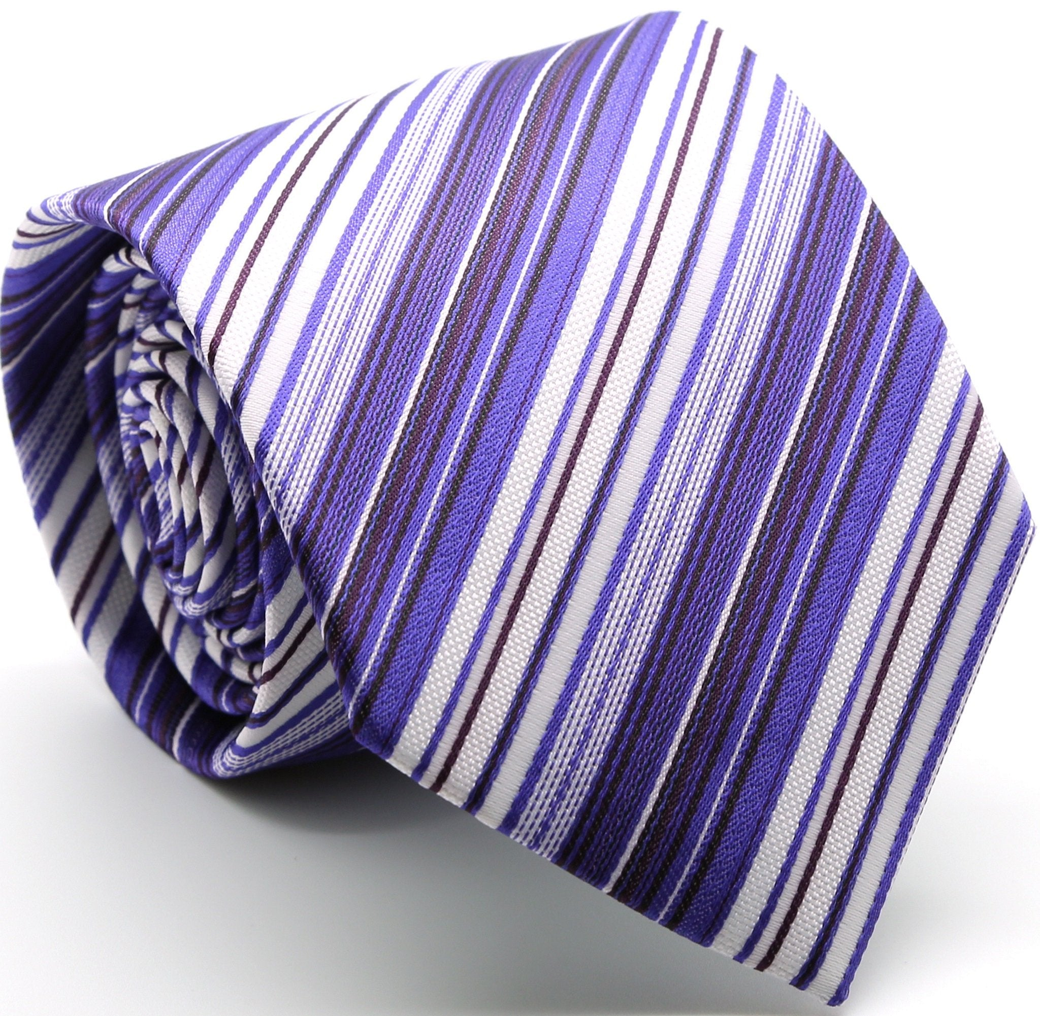 Mens Dads Classic Purple Striped Pattern Business Casual Necktie & Hanky Set S-12 - Giorgio's Menswear