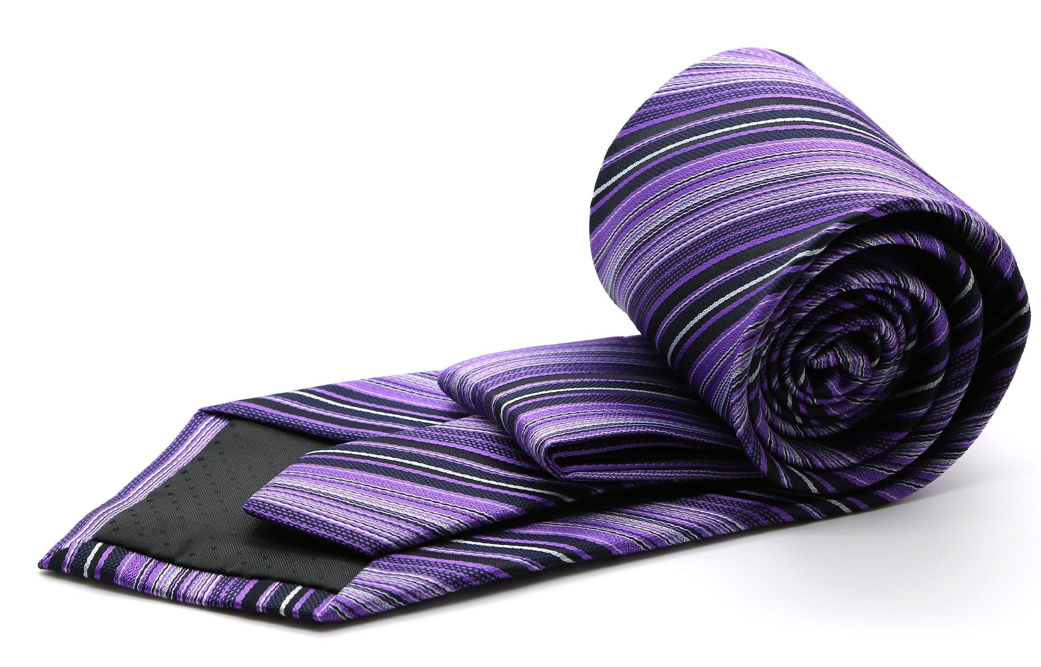 Mens Dads Classic Purple Striped Pattern Business Casual Necktie & Hanky Set S-7 - Giorgio's Menswear