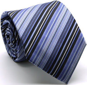 Mens Dads Classic Blue Striped Pattern Business Casual Necktie & Hanky Set S-8 - Giorgio's Menswear