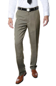 Premium Tan Regular Fit Suspender Ready Formal & Business Pants - Giorgio's Menswear