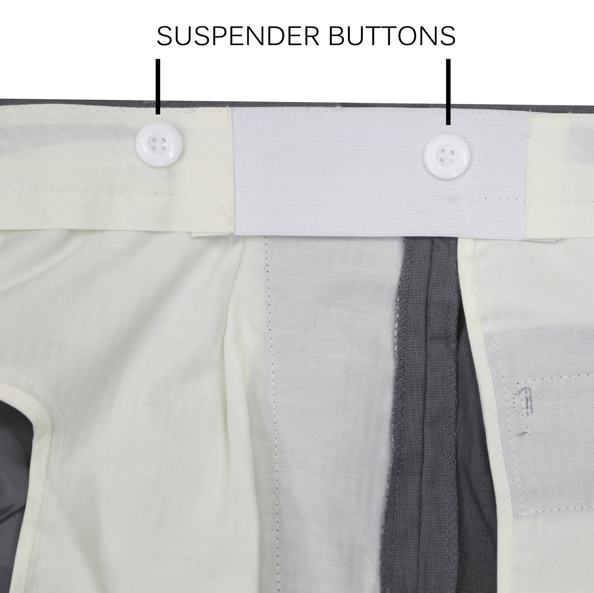 Premium Grey Regular Fit Suspender Ready Formal & Business Pants - Giorgio's Menswear