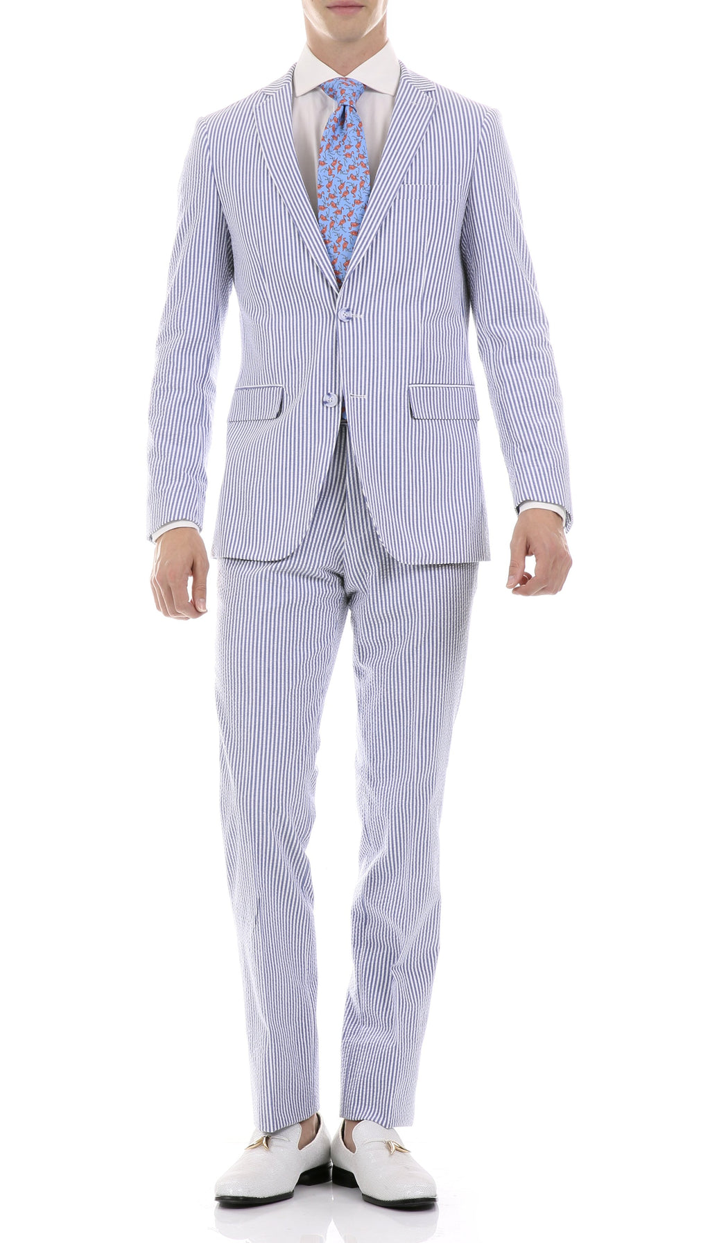Premium Comfort Cotton Slim Blue Seersucker Suit - Giorgio's Menswear