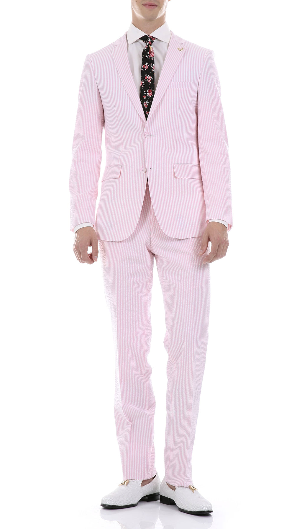 Men's  Slim Fit Two Button Pink Seersucker Suit - Giorgio's Menswear