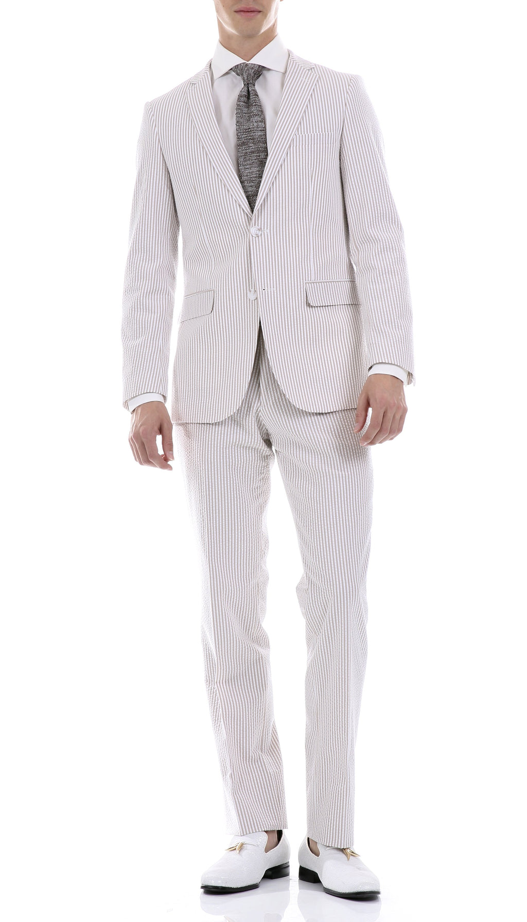 Premium Comfort Cotton Slim Tan Seersucker Suit - Giorgio's Menswear