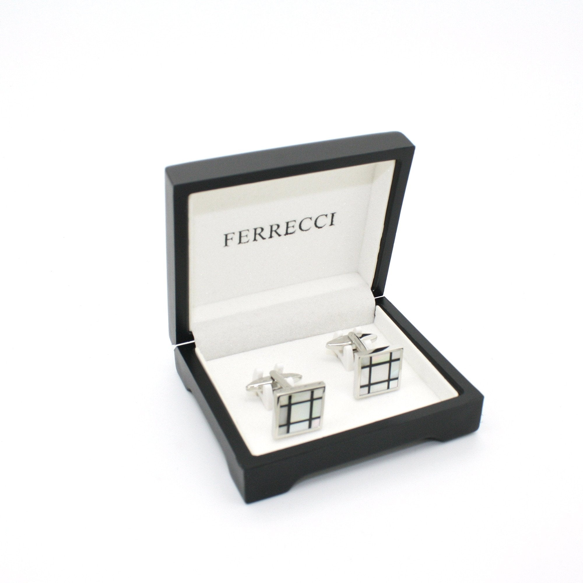 Silvertone White Shell Cuff Links With Jewelry Box - Giorgio's Menswear