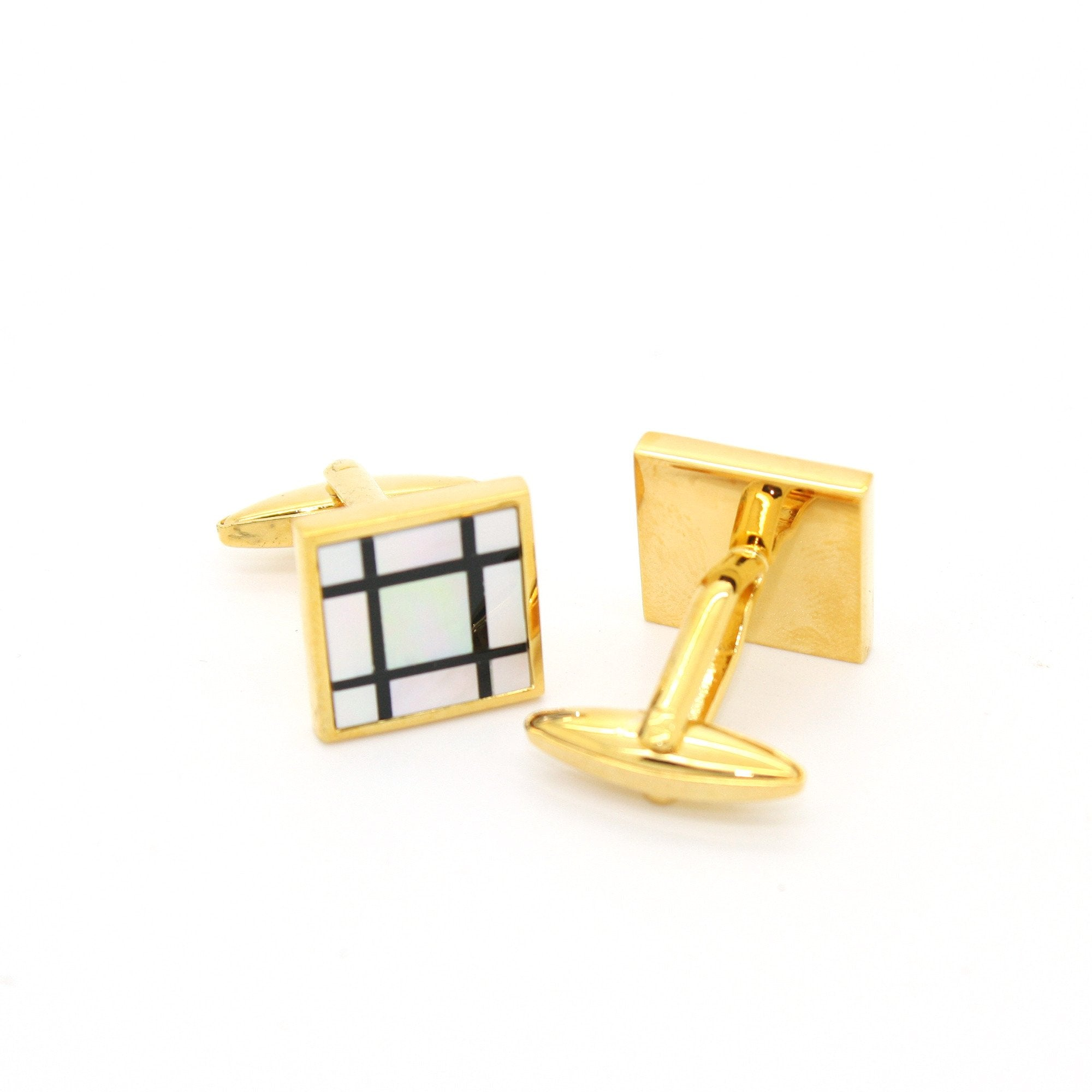 Goldtone White Shell Cuff Links With Jewelry Box - Giorgio's Menswear