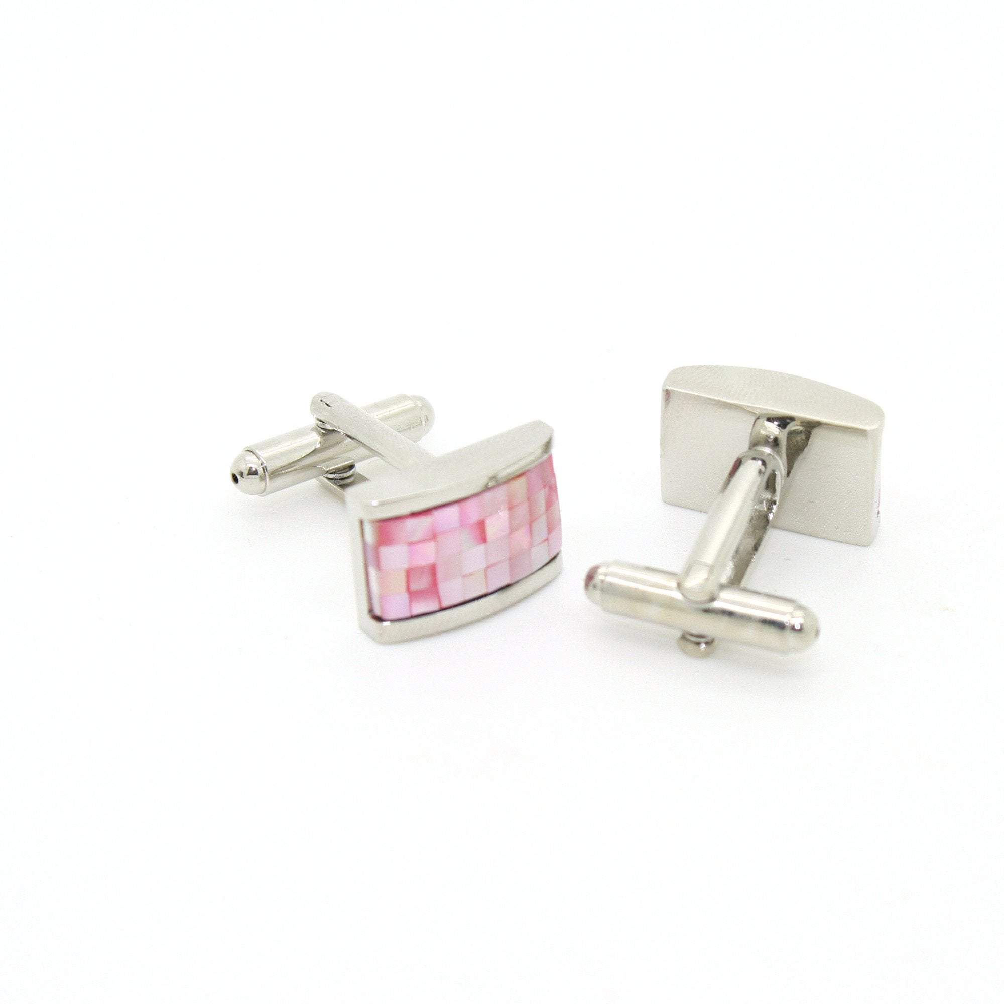 Silvertone Pink Rectangle Shell Cuff Links With Jewelry Box - Giorgio's Menswear