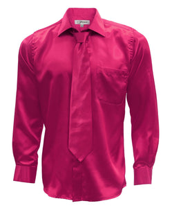 Fuchsia Satin Regular Fit French Cuff Dress Shirt, Tie & Hanky Set - Giorgio's Menswear
