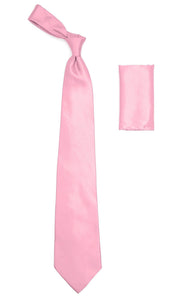 Pink Satin Regular Fit French Cuff Dress Shirt, Tie & Hanky Set - Giorgio's Menswear