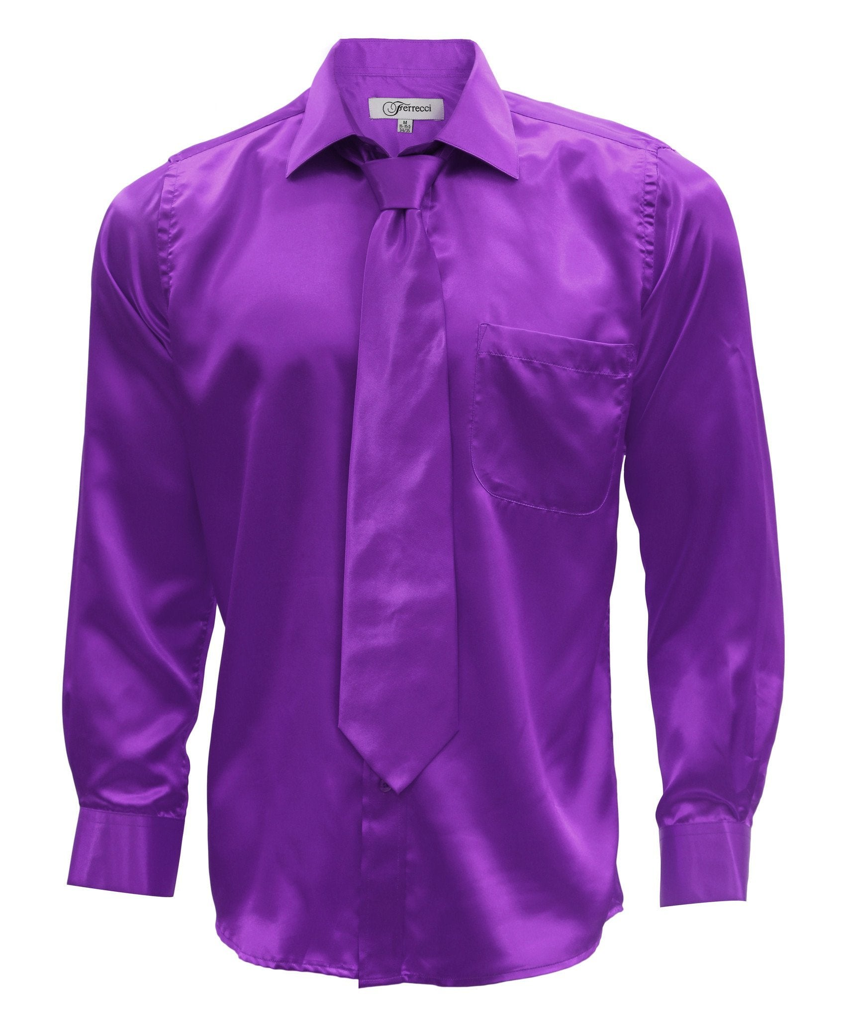Purple Satin Regular Fit Dress Shirt, Tie & Hanky Set - Giorgio's Menswear