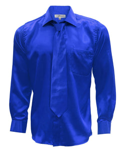 Royal Blue Satin Regular Fit French Cuff Dress Shirt, Tie & Hanky Set - Giorgio's Menswear