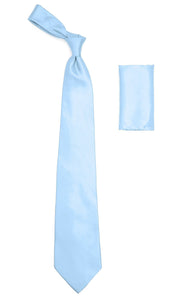 Sky Blue Satin Regular Fit French Cuff Dress Shirt, Tie & Hanky Set - Giorgio's Menswear
