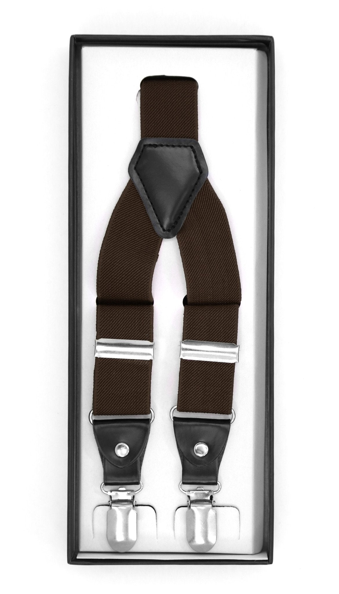 Dark Brown Clip-On Unisex Suspenders - Giorgio's Menswear