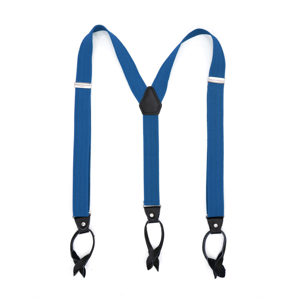 Royal Blue Unisex Button End Suspenders - Giorgio's Menswear