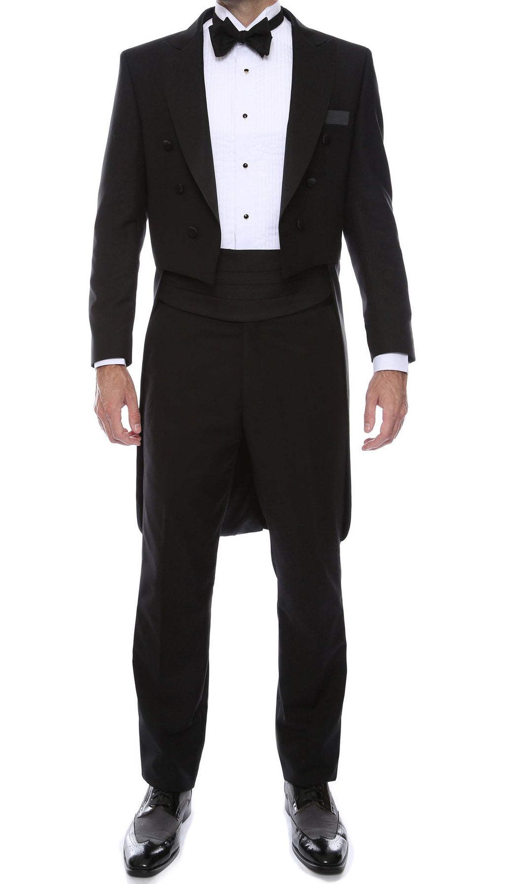 Ferrecci Men's Regular Fit Peak Lapel Black Tailcoat Tuxedo Set - Giorgio's Menswear