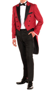 Regular Fit Peak Lapel Red Tailcoat Tuxedo Set - Giorgio's Menswear