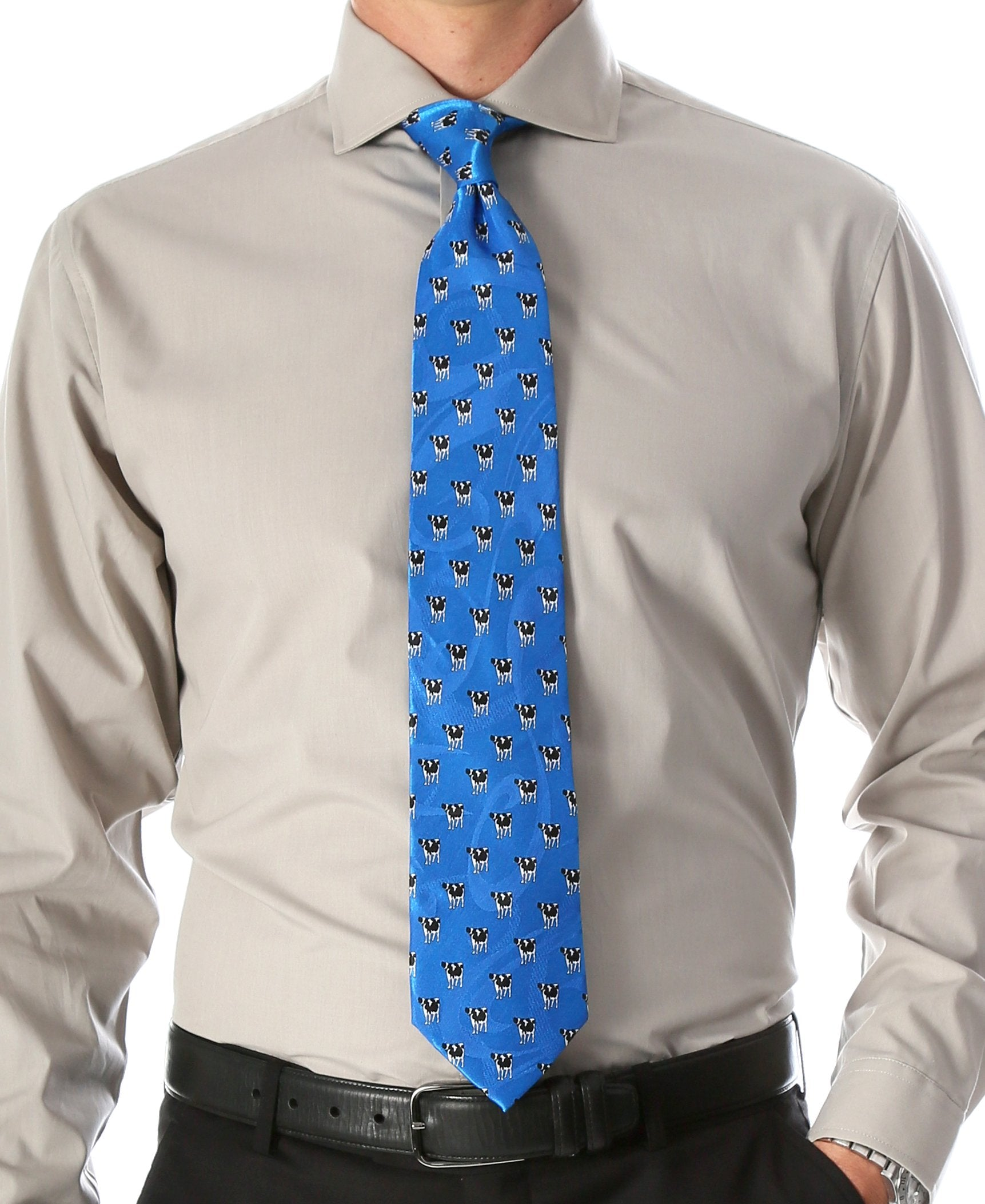 Cow Blue Necktie with Handkerchief Set - Giorgio's Menswear