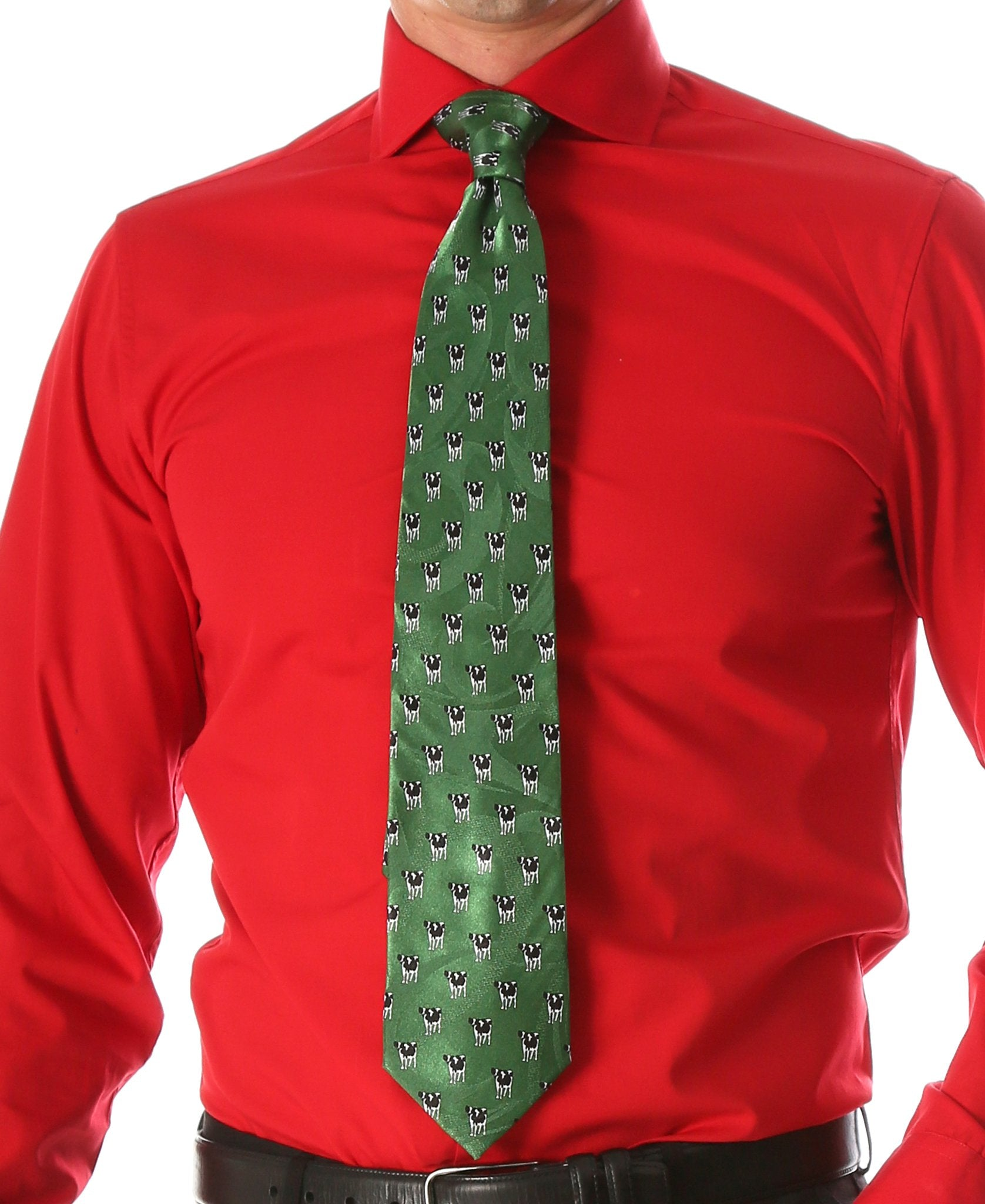 Cow Green Necktie with Handkerchief Set - Giorgio's Menswear