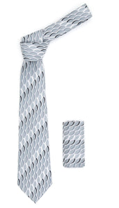 Geometric Light Grey Necktie w. Swirl Design Hanky Set - Giorgio's Menswear