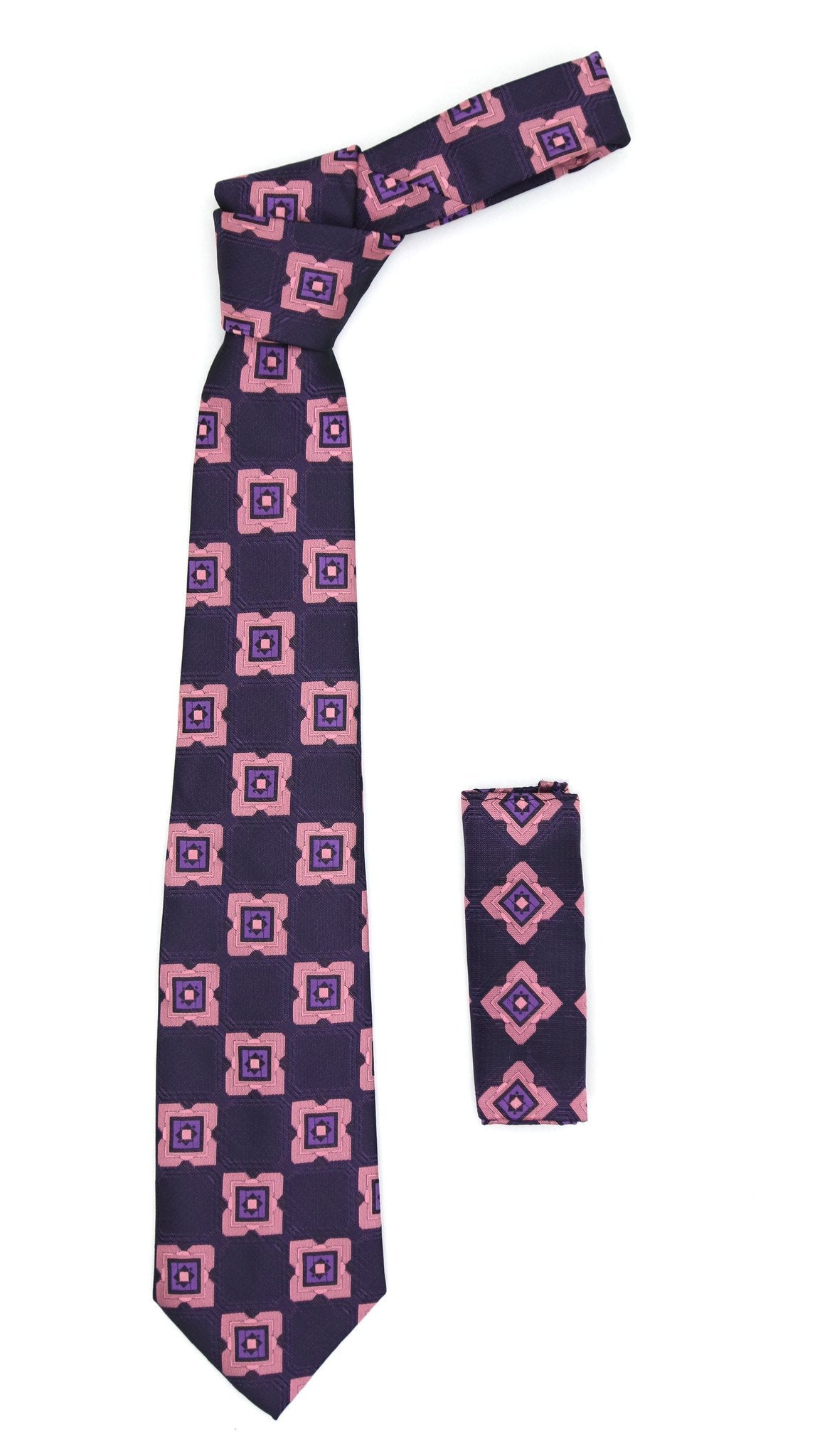 Geometric Purple w. Pink Square with Hanky Set - Giorgio's Menswear