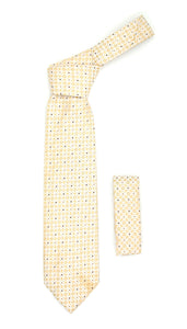 Geometric Beige Necktie with Square Pattern Hanky Set - Giorgio's Menswear