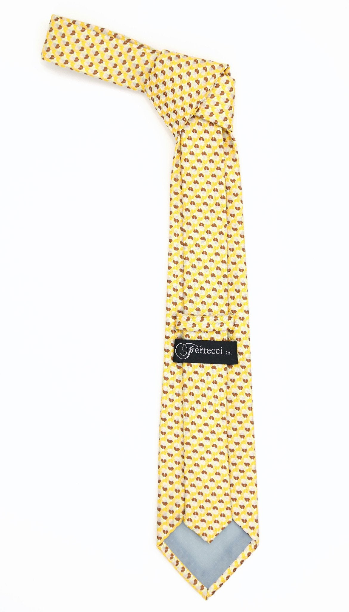 Geometric Dark Yellow Striped w. Flower with Hanky Set - Giorgio's Menswear