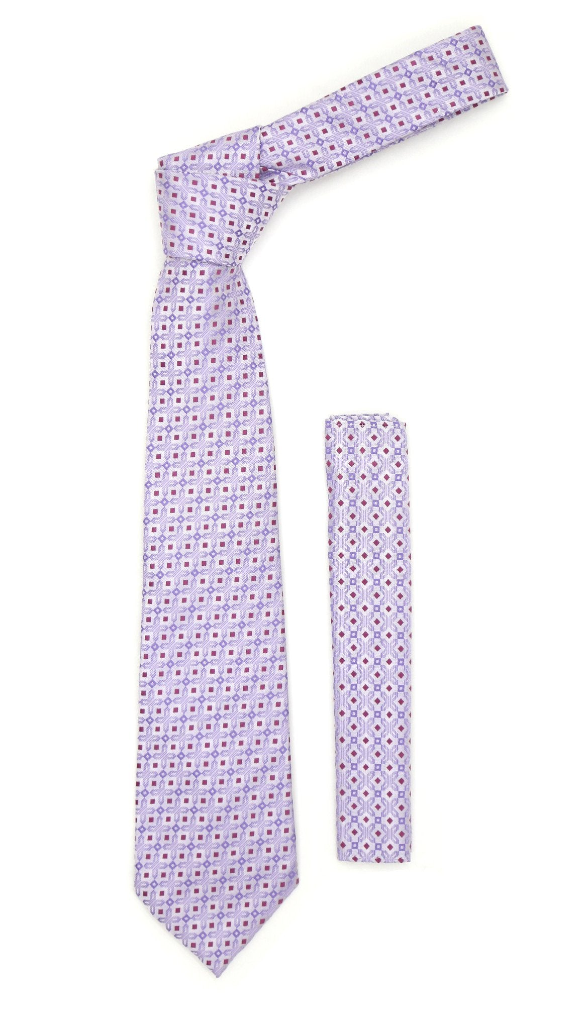 Lavender Purple Geometric Necktie with Handkerchief Set - Giorgio's Menswear