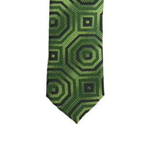 Super Skinny Retro Geometric Green Slim Tie - Giorgio's Menswear