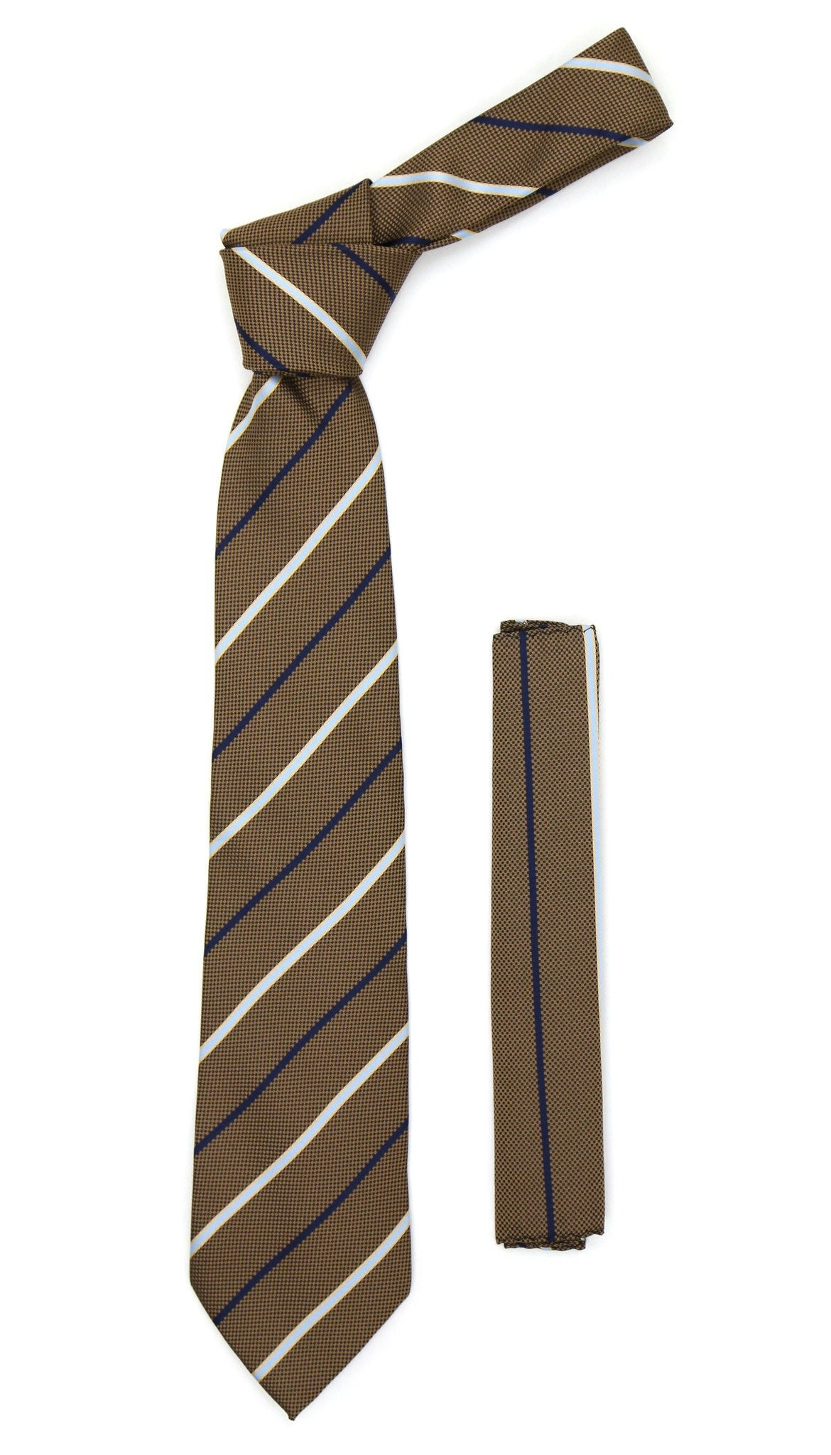 Microfiber Brown Baby Blue Striped Tie and Hankie Set - Giorgio's Menswear