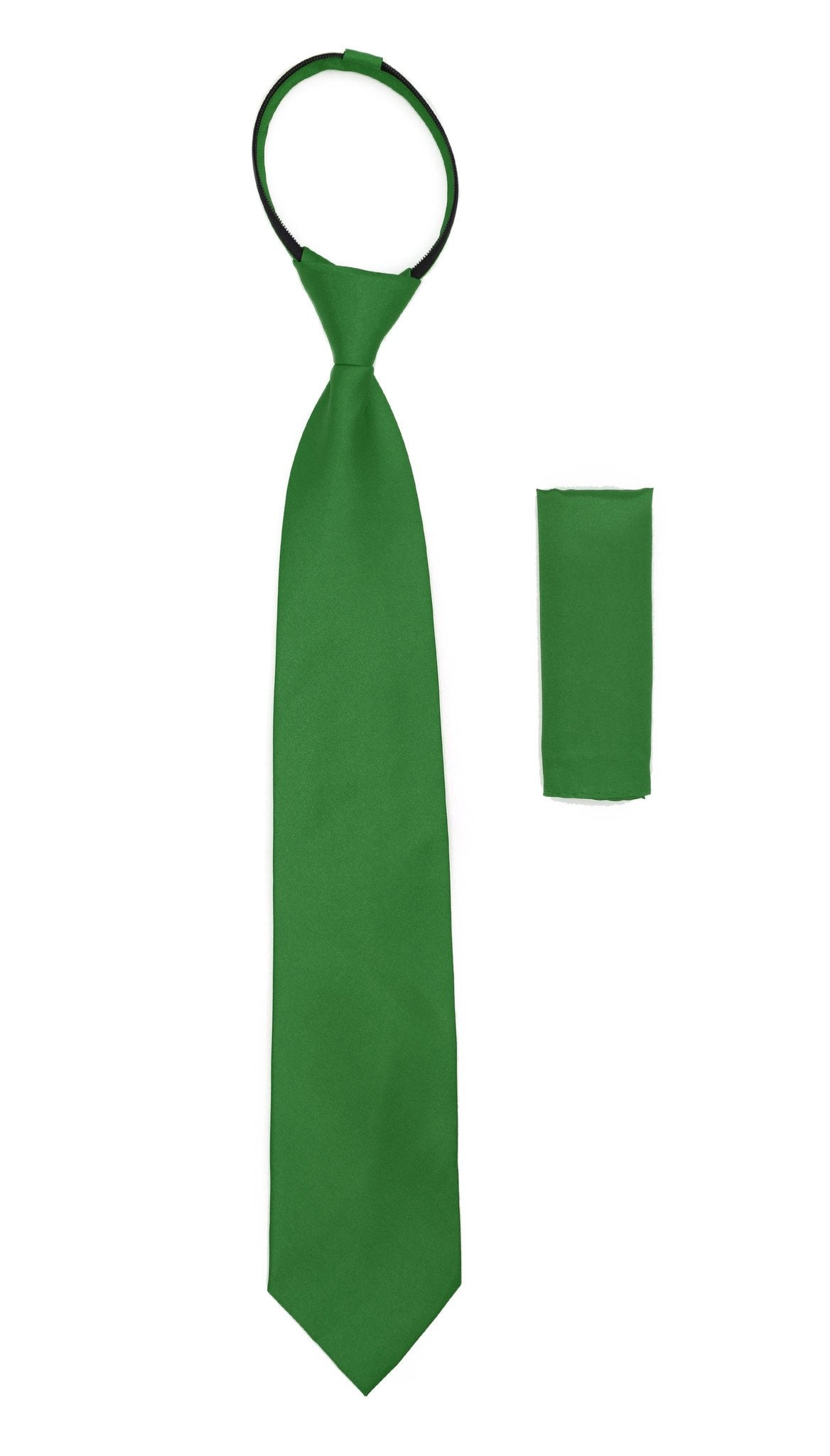 Satine Green Zipper Tie with Hankie Set - Giorgio's Menswear