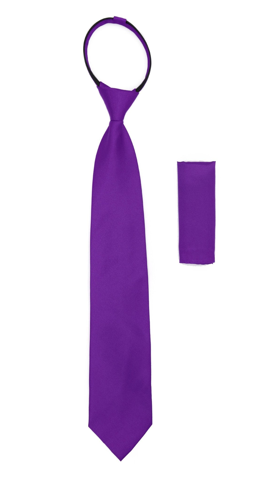 Satine Purple Zipper Tie with Hankie Set - Giorgio's Menswear
