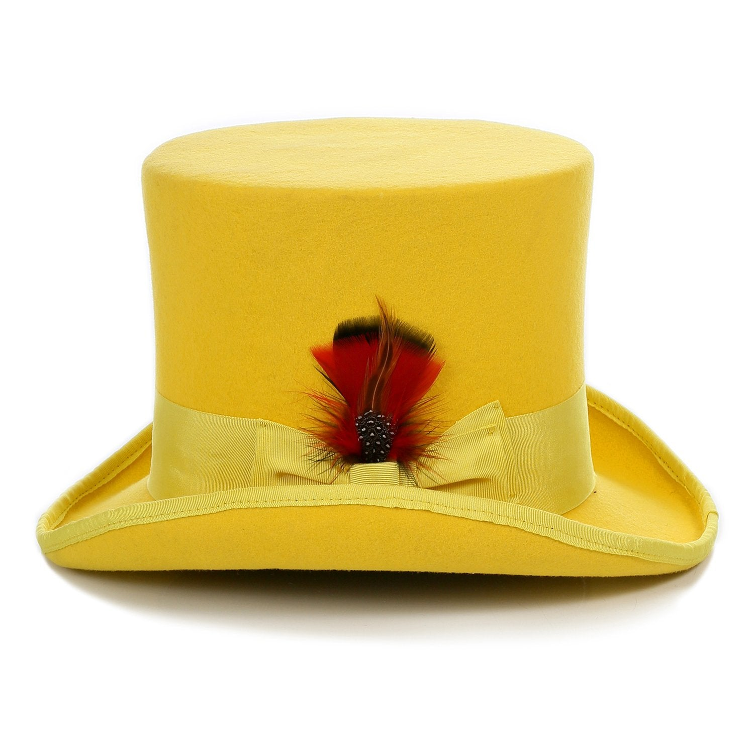 Premium Wool Yellow Victorian Top Hat - Giorgio's Menswear